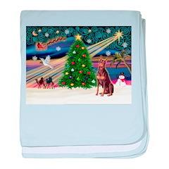 Xmas Magic/Red Dobie baby blanket