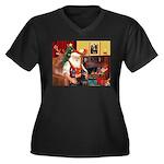 Santa's 2 Dobermans Women's Plus Size V-Neck Dark