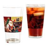 Santa's 2 Dobermans Drinking Glass