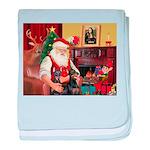 Santa's 2 Dobermans baby blanket