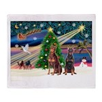 XmasMagic/2 Dobies (P3) Throw Blanket