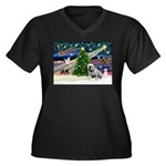 Xmas Magic & Bulldog Women's Plus Size V-Neck Dark