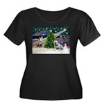 Xmas Magic & Bulldog Women's Plus Size Scoop Neck