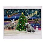 Xmas Magic & Bulldog Throw Blanket