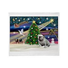 Xmas Magic & Bulldog Throw Blanket