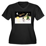 Night Flight/Fox Terrier Women's Plus Size V-Neck