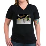 Night Flight/Fox Terrier Women's V-Neck Dark T-Shi