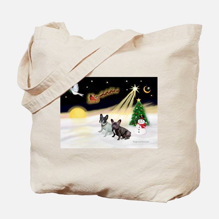 Night Flight/2 Fr Bulldogs Tote Bag