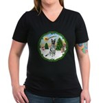 Take Off1/German Shepherd #12 Women's V-Neck Dark