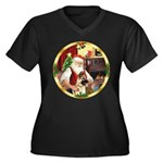 Santa's German Shepherd #13 Women's Plus Size V-Ne