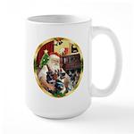 Santa's 2 German Shepherds Large Mug
