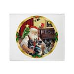 Santa's 2 German Shepherds Throw Blanket