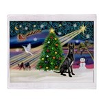 XmasMagic/Black Dane Throw Blanket