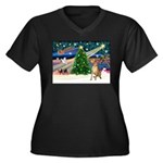 Xmas Magic & Gr Dane Women's Plus Size V-Neck Dark
