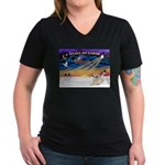 XmasSunrise/Pyrenees 1 Women's V-Neck Dark T-Shirt