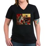 Santa's Greyhound(brin) Women's V-Neck Dark T-Shir