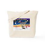 XmasSunrise/4 Ital Greyhounds Tote Bag