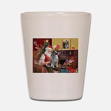 Santa/Keeshond Shot Glass