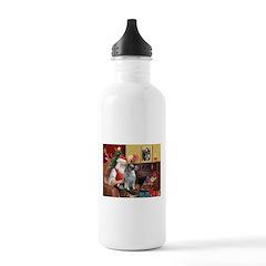 Santa/Keeshond Water Bottle