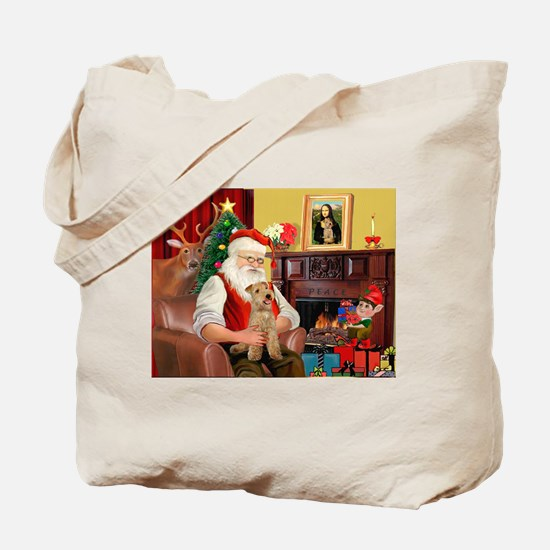 Santa/Lakeland Terrier Tote Bag