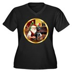 Santa's Lab (blk)#1 Women's Plus Size V-Neck Dark