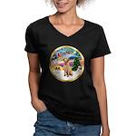 XmasMagic/Lab (yllow) Women's V-Neck Dark T-Shirt