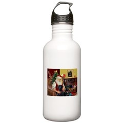 Santa's 2 Black Labs Water Bottle