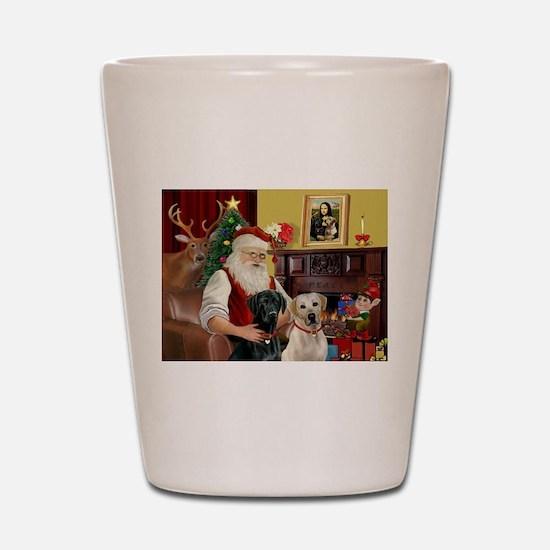 Santa's 2 Labs (Y+B) Shot Glass