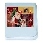 Santa's 2 Labs (Y+B) baby blanket
