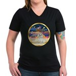 XmasStar/ Maltese # 11 Women's V-Neck Dark T-Shirt
