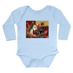 Santa's Newfoundland (br) Long Sleeve Infant Bodys