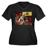 Santa/Norwegian Elkhound Women's Plus Size V-Neck