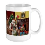 Santa/Norwegian Elkhound Large Mug