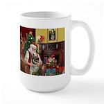 Santa/Norwegian Elkhound Large Mug