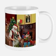 Santa/Norwegian Elkhound Mug