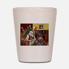 Santa/Norwegian Elkhound Shot Glass