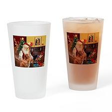 Santa/Nova Scotia Dog Drinking Glass