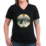 XmasMusic1MCL/Papillon Women's V-Neck Dark T-Shirt