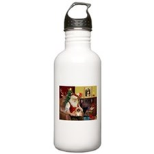 Santa's Pekingese (#1rd) Water Bottle