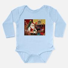 Santa's Pekingese (#1b) Long Sleeve Infant Bodysui