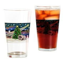 XmasMagic/Pekingese (R) Drinking Glass
