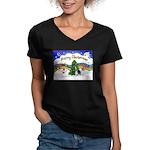 XmasMusic1/PBGV #9 Women's V-Neck Dark T-Shirt