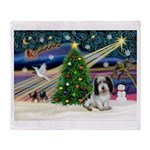 Xmas Magic/PBGV (#1) Throw Blanket
