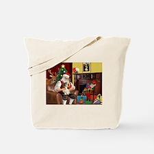 Santa's Petit Basset Tote Bag