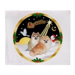 Night Flight/2 Pomeranians Throw Blanket