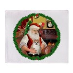 Santa's Pomeranian #1 Throw Blanket