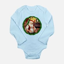 Santa's Pomeranian #1 Long Sleeve Infant Bodysuit