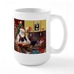 Santa's Pomeranian (bw) Large Mug