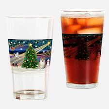 Christmas Magic & Pomeranian Drinking Glass