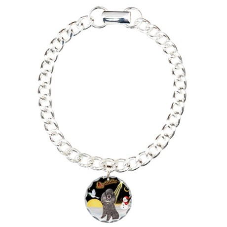 Night Flight/Silver Poodle Charm Bracelet, One Cha